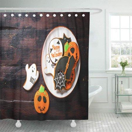 KSADK Halloween Food Gingerbread Cookies Pumpkin Ghosts Witch Hat Spiderweb On Dark Wooden Shower Curtain Bath Curtain 66x72 inch](Halloween Witches Hat Cookies)