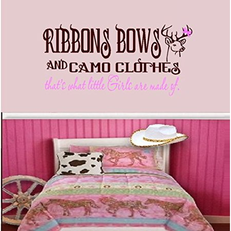 Decal ~ Ribbons Bows and Camo Clothes, Brown and Pink ~ Wall or Window Decal (Large 20