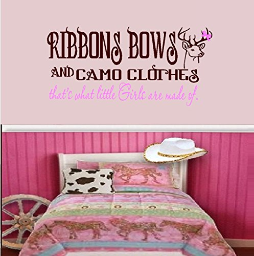 """Decal ~ Ribbons Bows and Camo Clothes, Brown and Pink ~ Wall or Window Decal (Large 20"""" x 40"""")"""