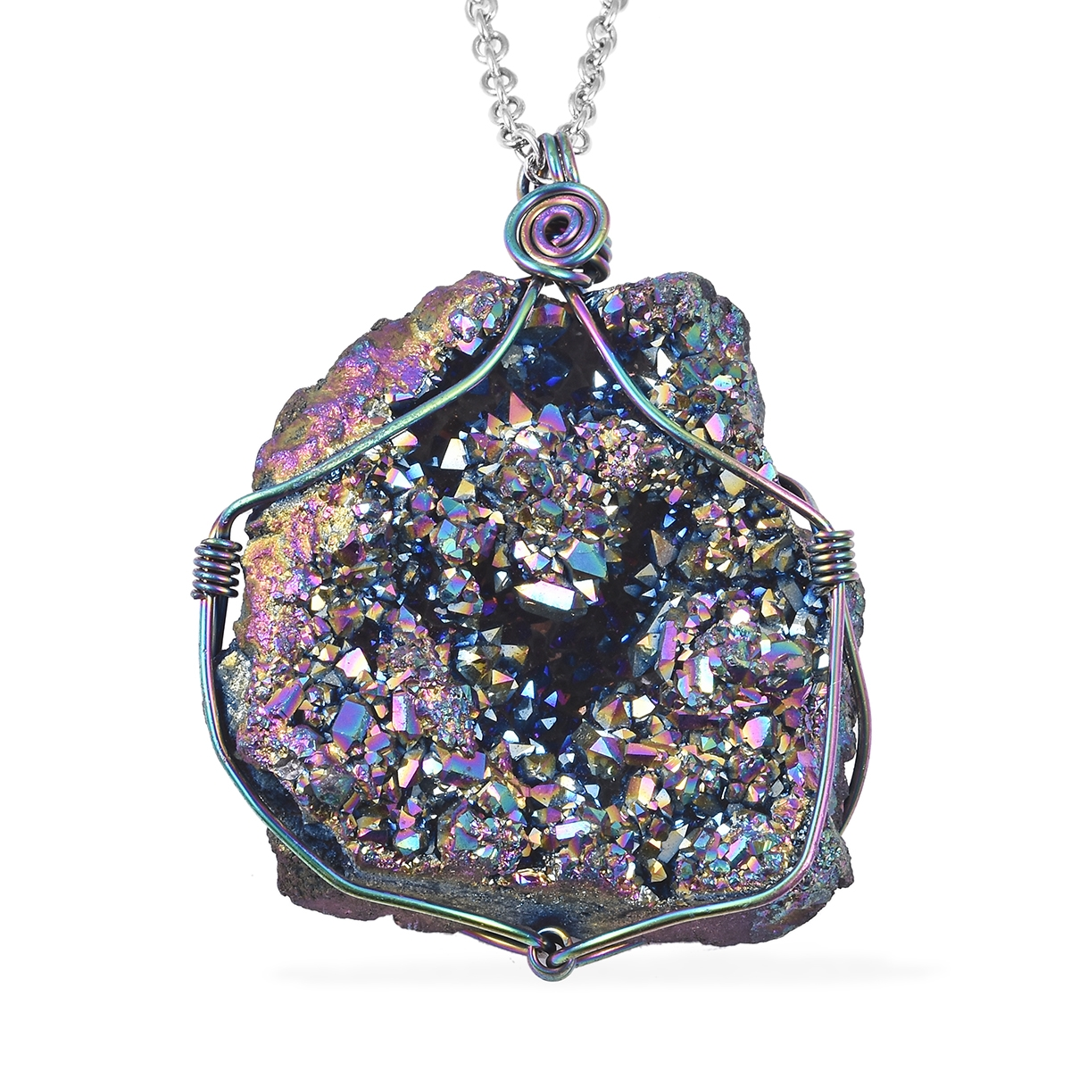 ION Plated Green Drusy Quartz Amethyst Pendant Necklace Jewelry for Women 24/""