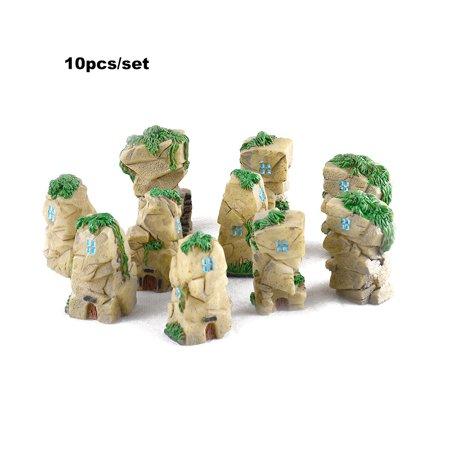 10pcs/set Mini Stone Castle Fairy Garden Resin DIY Craft Ornaments Miniature Landscape Model Home Decoration Photography Props Children's Toys (random style) - image 1 de 7
