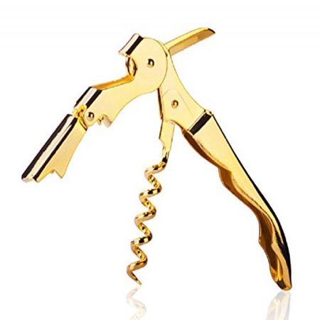Gold Plated Corkscrew Double Hinge Waiters Wine Key / Bottle Opener # CHGLD Double Step Waiters Corkscrew