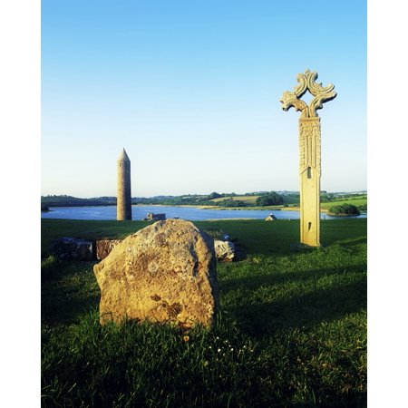 Devenish Island Co Fermanagh Ireland High Cross And 12Th Century Round Tower In The Distance PosterPrint