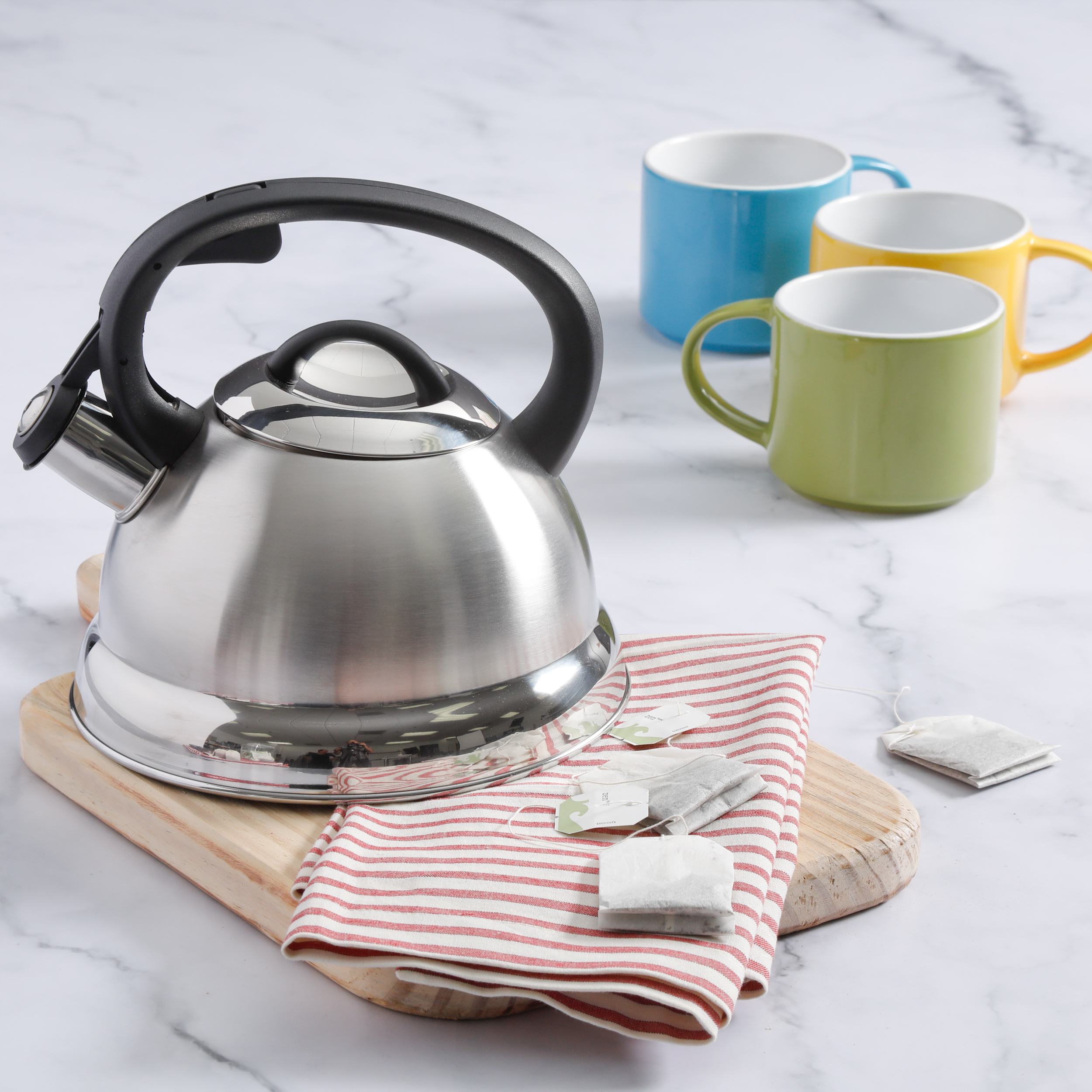 Mr. Coffee Flintshire 1.75 Qt Stainless Steel Whistling Tea Kettle