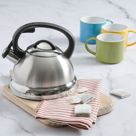 Porcelain Steel Tea Kettle (Mr. Coffee Flintshire 1.75 Qt Stainless Steel Whistling Tea)