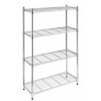 "Ktaxon 4-Tire 56x36x14"" Steel Rack Metal Shelf Adjustable Unit Garage Kitchen Storage,Chrome"