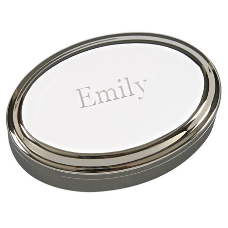 - Personalized Monogrammed Oval Jewelry Box W/Lift Top, Nickel Plated