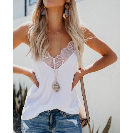 Summer V Neck Chiffon Lace Sleeveless Shirt Vest Crop Blouse Camisole Tank Tops For Women