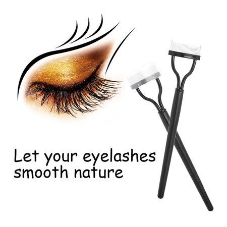 Mosunx Eyelash Comb Lash Separator Mascara Lift Curl Metal Brush Beauty Makeup Tool (Pink Eyelash Comb)
