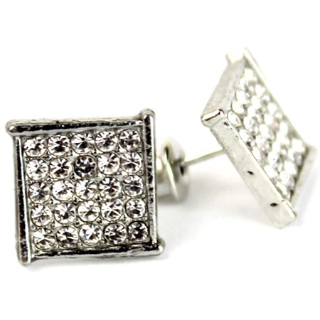 Micro Pave Square Silver Stud Earrings 10 mm Men Women Unisex ()