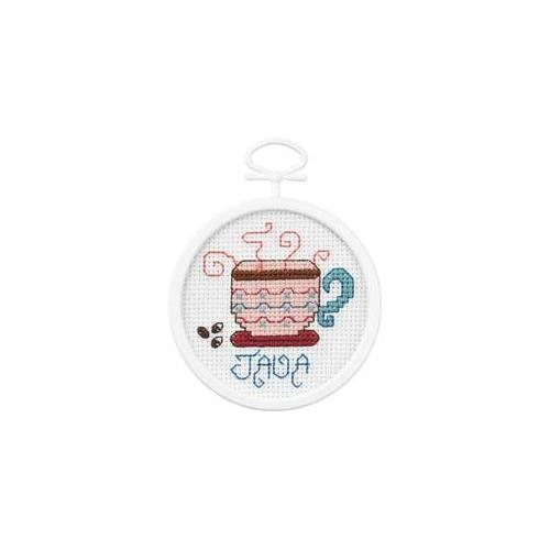 Janlynn 417845 Java Mini Counted Cross Stitch Kit-2. 5 inch Round 18 Count