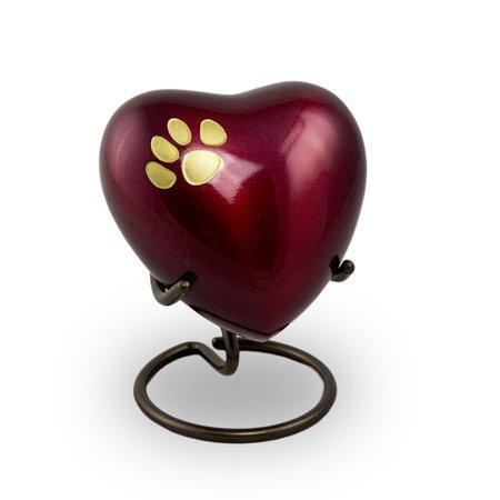 brass pet urn - keepsake 3 pounds - crimson red pet paw - engraving sold separately ()