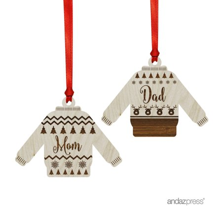 Funny Laser Engraved Wood Christmas Ornament with Gift Bag, Ugly Sweater Mom & Dad, Sweater Shape, 2-Pack