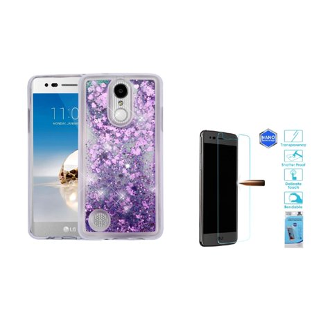 LG Aristo Accessory Bundle, by Insten Hybrid Dual Layer Case For LG Aristo / K8 2017 / LV3 / MS210 - Purple (with Clear Screen Protector)
