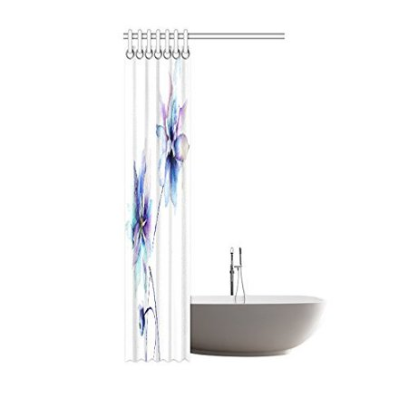 POP Watercolor Flower Shower Curtain, Elegant Flower Drawing with Soft Spring Colors Retro Style Floral Art Bathroom Set, Purple Blue White 36x72 inch - image 2 of 2