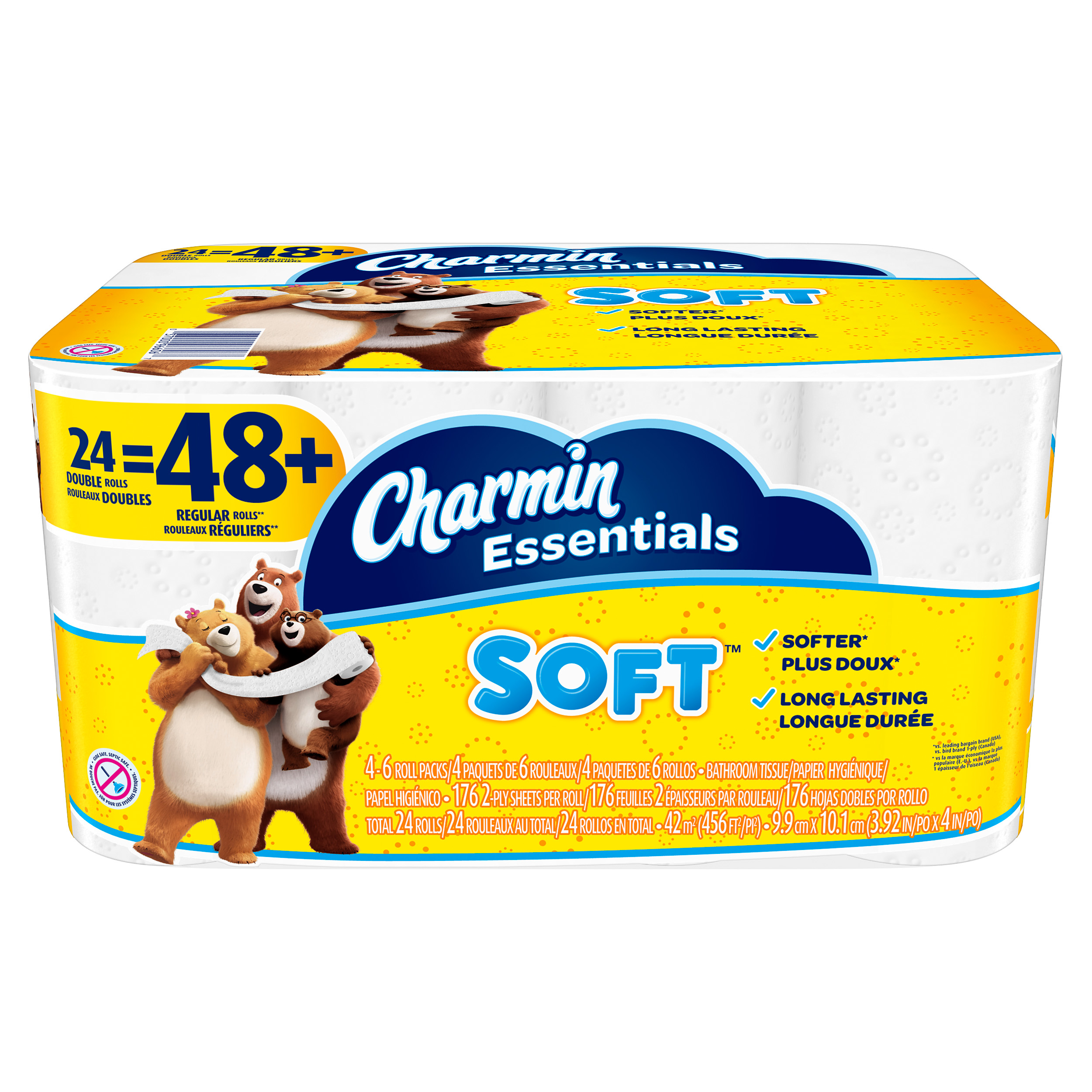 Charmin Essentials Toilet Paper, Soft, 24 Double Rolls by Charmin
