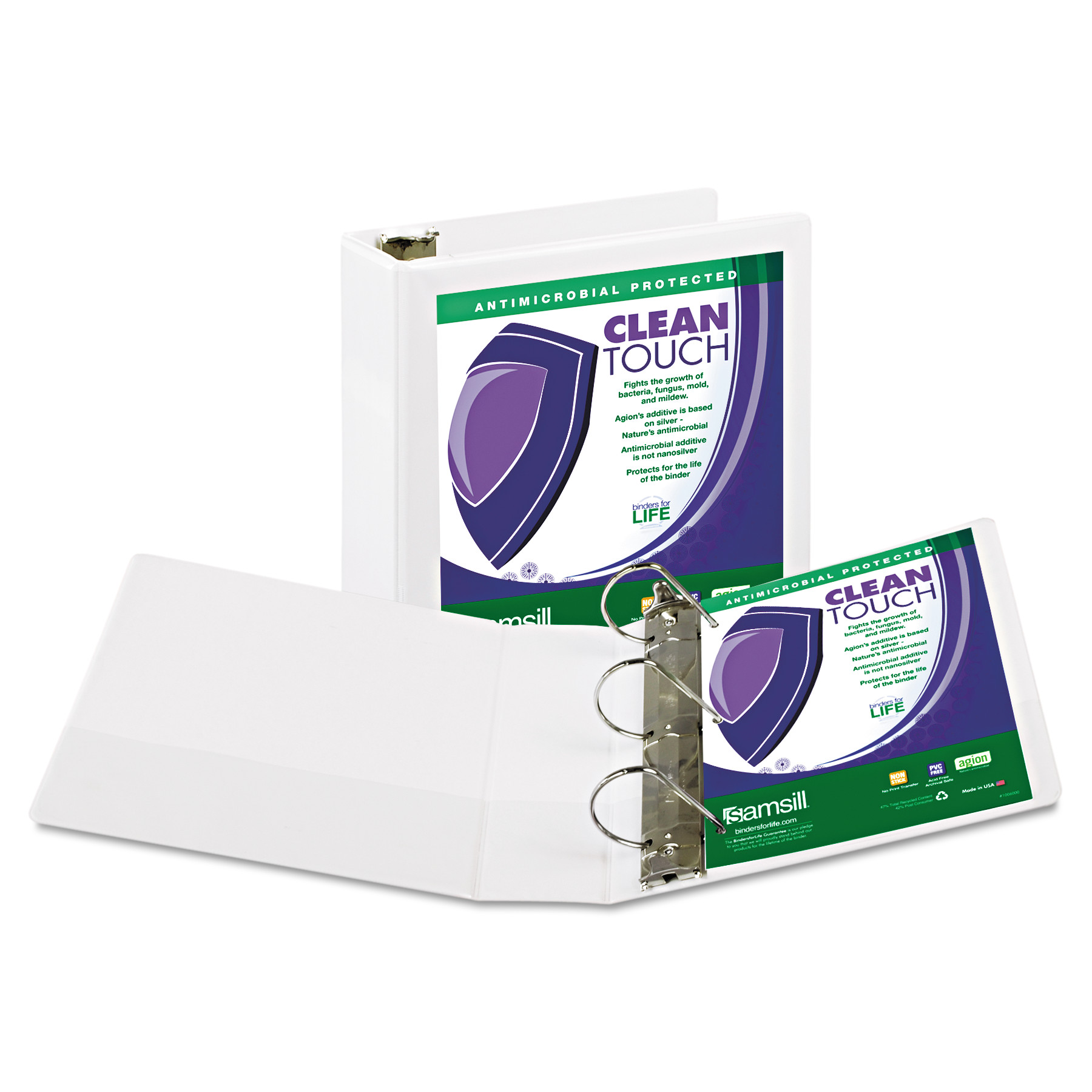 "Samsill Clean Touch Locking D-Ring View Binder, Antimicrobial, 3"" Cap, White"