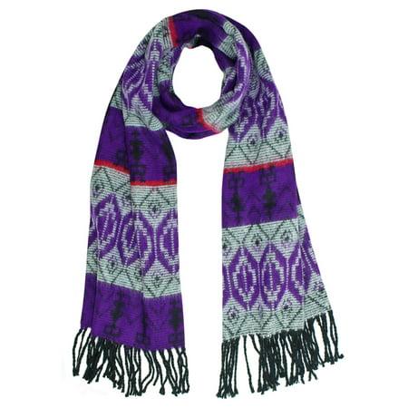 Tribal Print Cashmere Feel Unisex Scarf With Fringe Luxury Scottish Cashmere