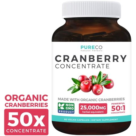 Pure Co Organic Cranberry Concentrate (50:1) - 500mg is Equivalent to 25,000mg Fresh Cranberries - For Kidney Cleanse & UTI Support Vitamins - Fruit Extract Supplement, 60 Vegan Capsules No