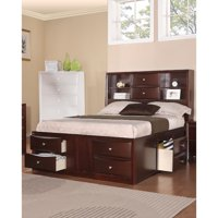 Wooden Queen Bed W/ Display Shelves & Under Bed Drawers,Dark Brown