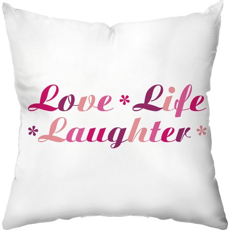 Love Life Throw Pillow : Checkerboard Lifestyle Love Life Laughter Throw Pillow, Pink - Walmart.com