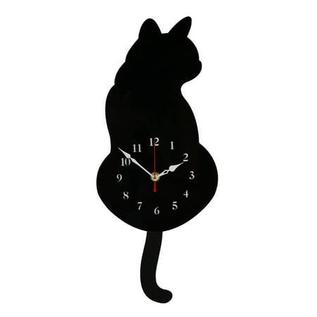 Acrylic Mute Creative Wall Clock Shake Tail Cat Wall Clock Cartoon Wall Clock