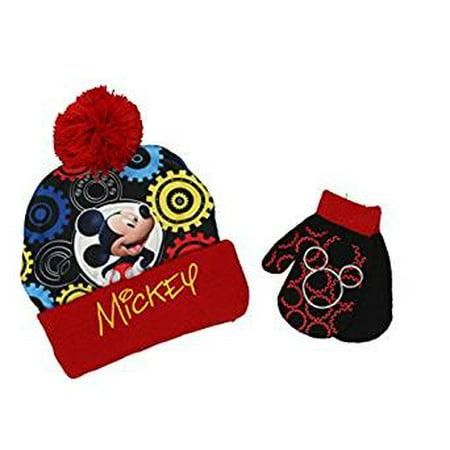 Disney - Beanie Cap - Disney - Mickey Mouse Red Black w Gloves Set ... 089d85c44250