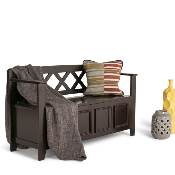 WyndenHall Halifax SOLID WOOD 48 inch Wide Transitional Entryway Storage Bench - 48 Inches wide - 48 Inches wide