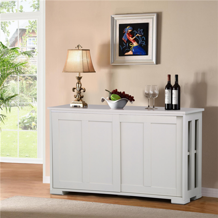 Topeakmart Antique White Buffet Cabinet Kitchen Table Sliding Door  Stackable Sideboard Storage Cabinet - Topeakmart Antique White Buffet Cabinet Kitchen Table Sliding Door  Stackable Sideboard Storage Cabinet