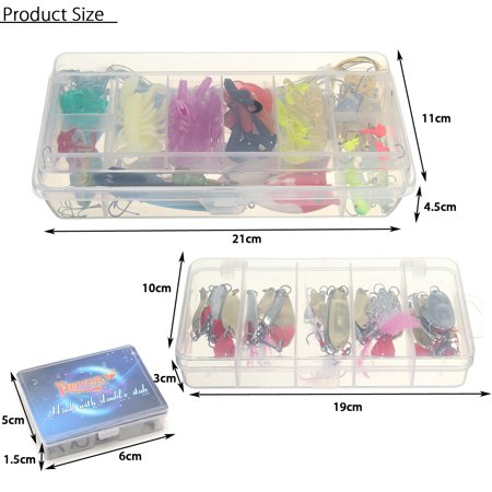 226pcs/Set Fishing Lures Spinners Baits Frogs Pike Trout Parva Hook Tackle + Box - image 5 de 8