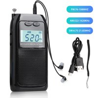 "Pocket Digital Radio, TSV USB Charging FM/AM/SM Radio Digital Tuning DC 5V/0.6A MP3 Player w/ Stereo Earphone, 1.8"" LCD Digital Display for travel running hiking walking, Arm Lanyard + Storage Bag"