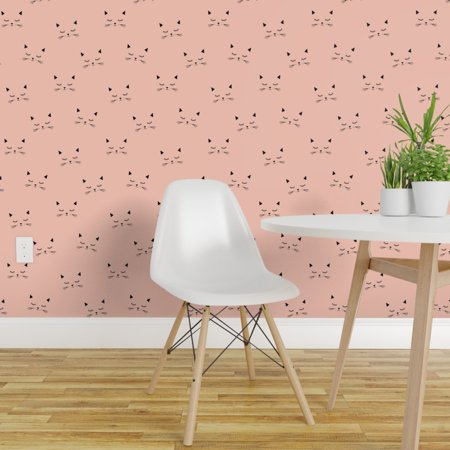 Peel-and-Stick Removable Wallpaper Kitten Face Kawaii Kitty Whiskers Blush Pink Air Force Wallpaper