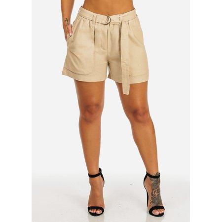 Womens Juniors High Rise Belt Tie Linen Pockets Front Button Beige Lighweight Womens Casual Shorts 10476L