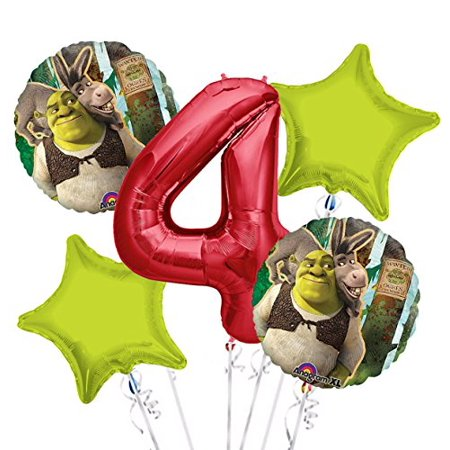 Shrek Party Supplies with Donkey Balloon Bouquet 4th Birthday 5 pieces - Party Supplies - Halloween School Party Ideas 4th Grade