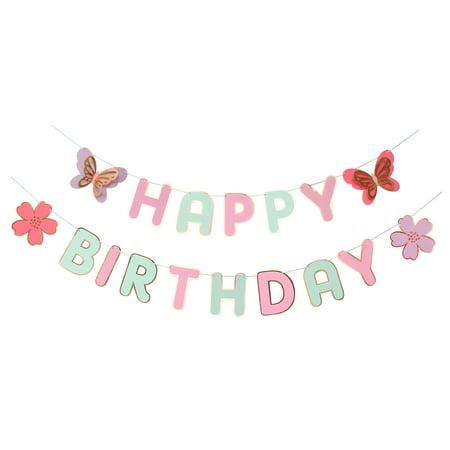 Butterfly Garden, Happy Birthday Banner, 17 Pennants, Paper, 2 Strands](Butterfly First Birthday)