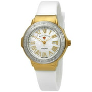 20032Dsm-Yg-02-Sb-Wht South Beach Diamonds White Silicone And Mop Dial Gold-Tone Ss Case Watch