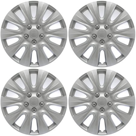 """Cover Trend (Set of 4) Universal 17"""" Silver Lacquer Hub"""