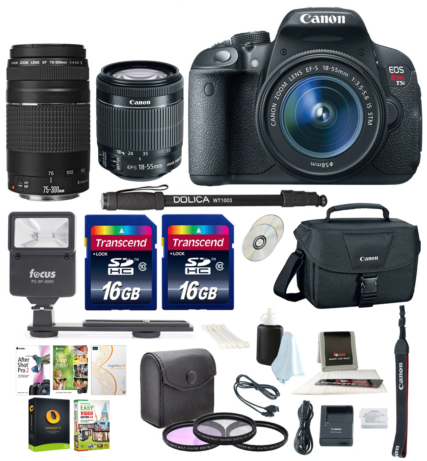 Canon Rebel T5i w/ 18-55mm and 75-300mm lenses + Promotio...