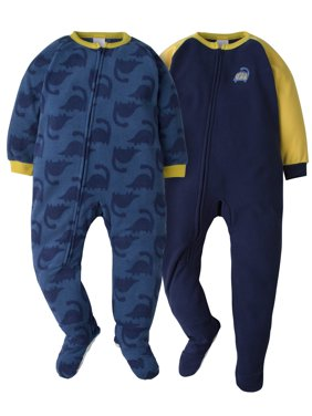 Gerber Toddler Boy Microfleece Blanket Sleepers Pajamas, 2-Pack