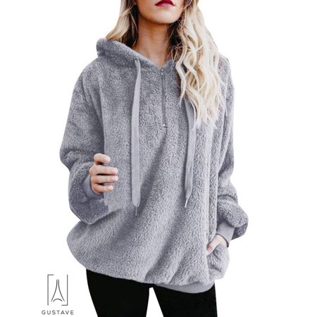 - GustaveDesign Women's Fleece Long Sleeve Pullover Hoodies with 1/4 Zip Up Sweatshirt Jumper Warm Sweaters (Gray,XL)