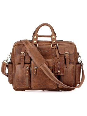 ce47e1087f Product Image Vicenzo Signature Full Grain Leather Laptop Briefcase - Dark  Brown