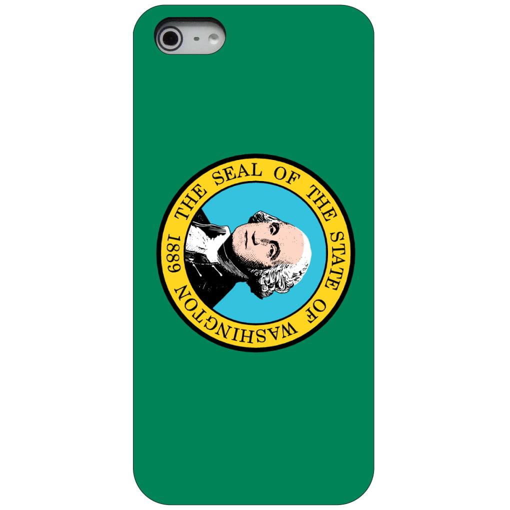 CUSTOM Black Hard Plastic Snap-On Case for Apple iPhone 5 / 5S / SE - Washington State Flag
