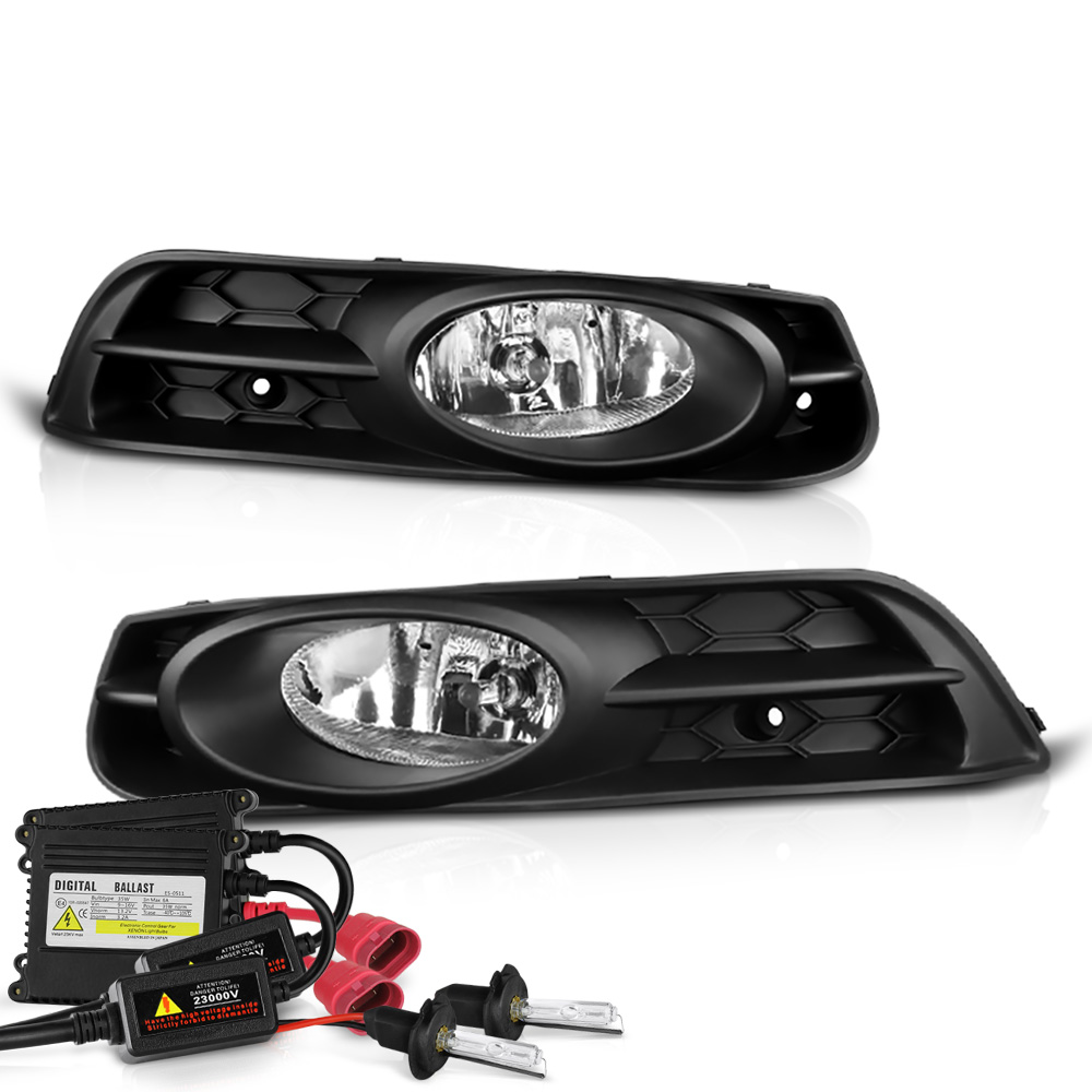 VIPMOTOZ OE-Style Front Fog Light Driving Lamp Assembly w/ Bezel For Honda Civic - Power Switch & Universal Wiring Included, Driver & Passenger Side