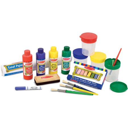 Melissa & Doug Easel Accessory Set, Paint, Cups, Brushes, Chalk ...