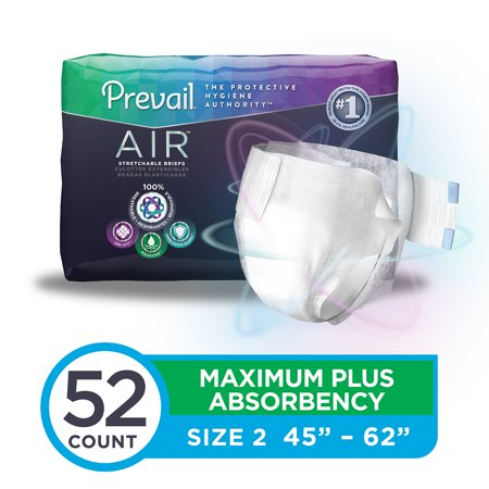 Prevail Air Maximum Plus Absorbency Stretchable Incontinence Briefs / Adult Diapers, Size 2, 52 Count (Adult Costumes.com)