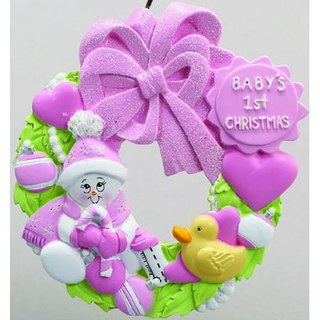 Baby Girls First Christmas Pink Wreath Christmas Tree Ornament Decoration - Christmas Decorations Near Me