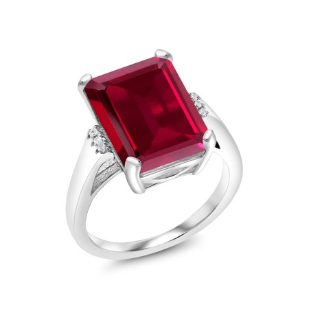 8.07 Ct Emerald Cut Red Created Ruby 925 Sterling Silver Ring