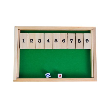 Wooden 9 Number Shut the Box Dice Board Game Classic Tabletop Toy Educational Wood Toys for Kids and Adults ()