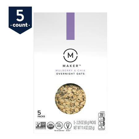 Maker Overnight Oats, Mulberry & Chia, Organic, No Sugar Added, 5 (Best Overnight Oats Recipe)