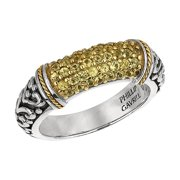 Phillip Gavriel 18k Gold & Sterling Silver Yellow Sapphire Signet Ring, Size 7